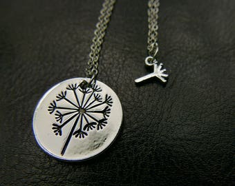 Best friend necklace, Set of 2 Dandelion Necklaces