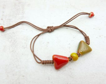 Triangle Bracelet, Porcelain bracelet,