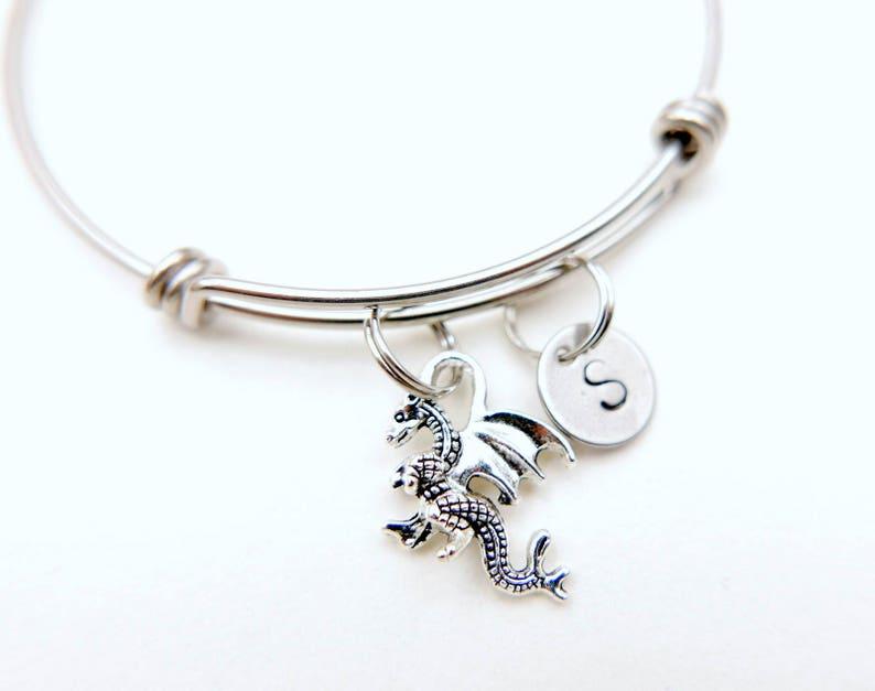 ad40f0108 Dragon initial Bracelet monogram bracelet magical   Etsy
