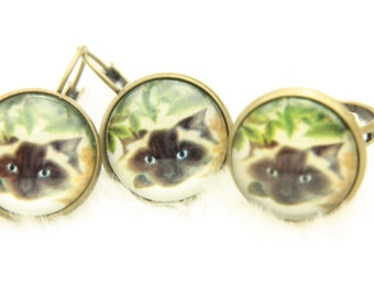 Siamese cat jewelry set Earrings ring