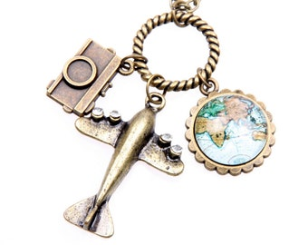 Flying travel around the world Necklace