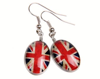 British flag Earrings, double cabochon  1318B