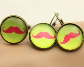 Mustache jewelry set, Mustache earrings and ring 1616