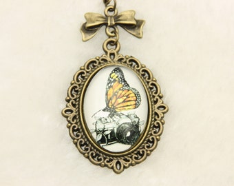 Butterfly and camera Necklace 1825C