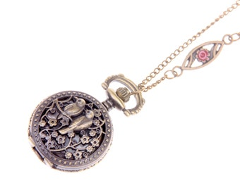 Birds in love Pocket watch Necklace