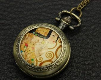 Necklace Pocket watch expectation klimt