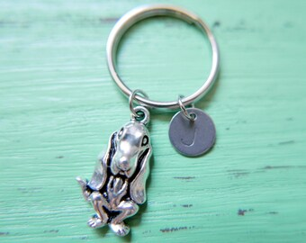 Basset hound initial Keychain, stainless steel Keyring