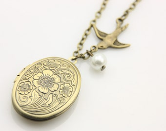 Swallow locket  Necklace