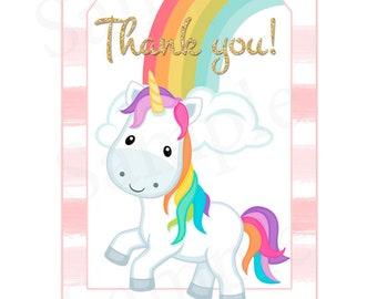 Printable Unicorn Birthday Party Gift Tags