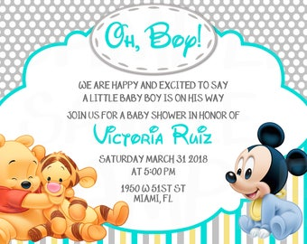 Disney Baby Pooh, Tiger and Mickey Mouse Inspired Baby Shower or Birthday Printable Invitation