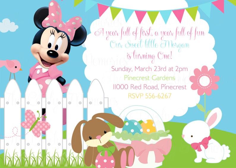 Minnie Mouse Easter Theme Birthday Invitation Printable