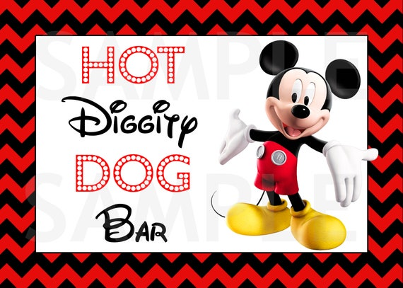 picture regarding Hot Diggity Dog Bar Free Printable named Mickey Mouse Birthday Signal, Sizzling Diggity Pet dog Bar