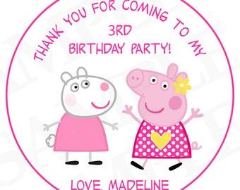 Peppa pig Birthday Day Label- DIY Printable file