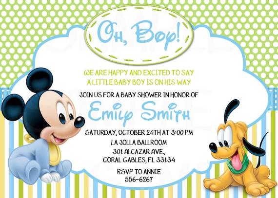 730111d683a9d Bebe Mickey Mouse invitaciones de cumpleaños o Baby Shower