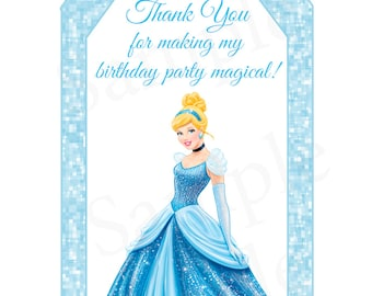 Cinderella Inspired Birthday Party Printable Thank you Gift Tags