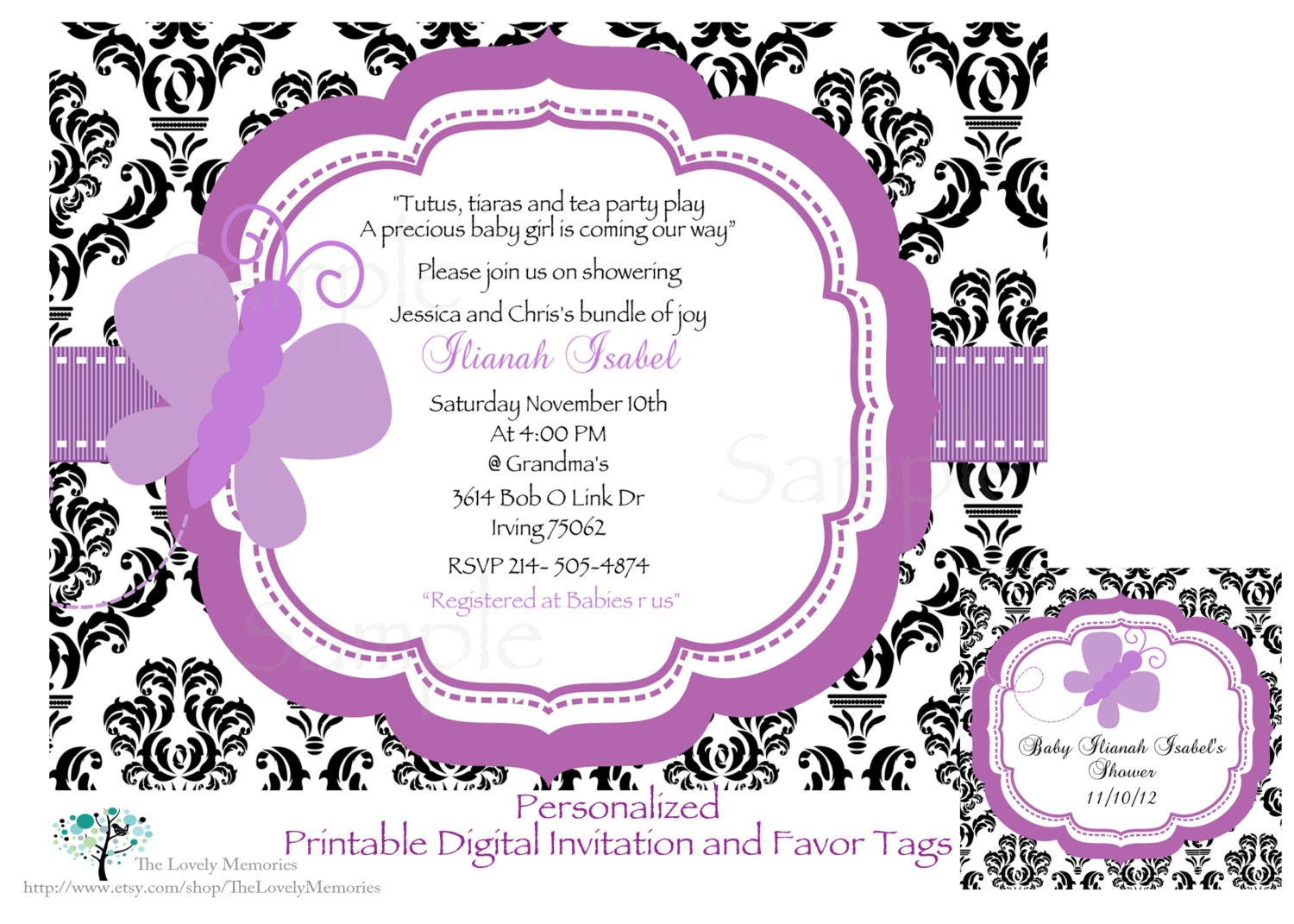 Damask Purple Butterfly Baby Shower Invitation Favor Tags Set Etsy