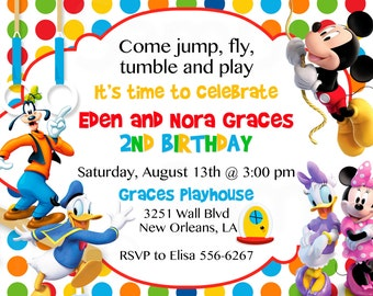 Mickey Mouse Clubhouse Inspired Gymnastics or Trampoline Birthday Printable Invitation