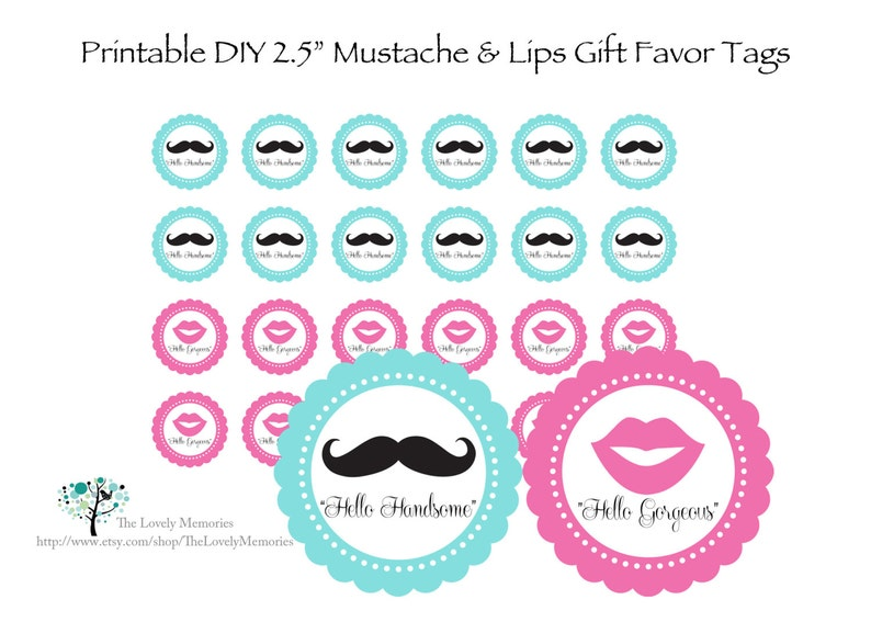 photograph regarding Printable Mustache and Lips titled Mustache Lips Printable Celebration Like Tags, 2.5\