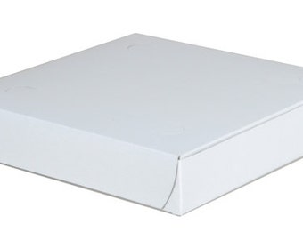 White Pizza Boxes 8 x 8 x 1-1/2  -Set of 30 & 30 labels