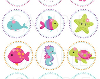 "Pink Under the Sea- 2"" Printable Cupcake Toppers /Gift Favor Tags/Stickers ***NOT Personalized***"
