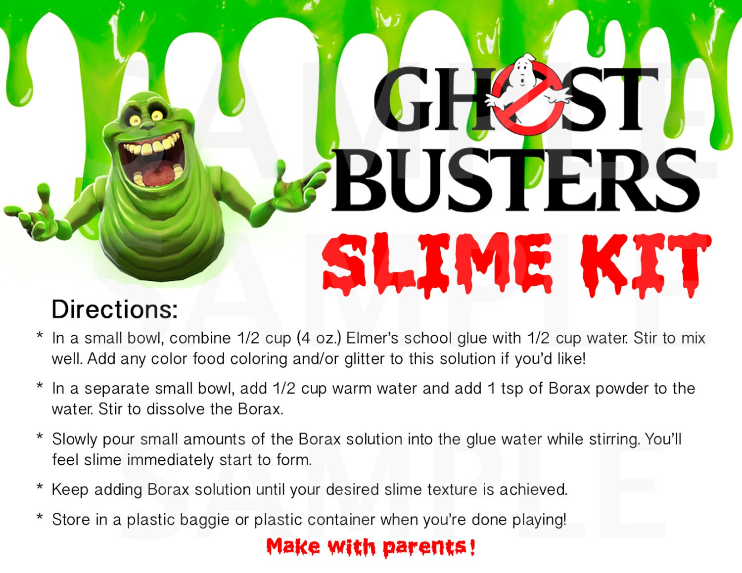 Download Ghostbusters Inspired Boys Birthday Party Slime Kit LABELS   Etsy
