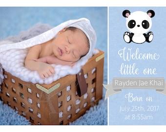 Baby panda boy birth announcement card -Printable File