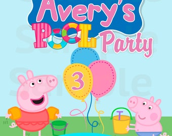 Peppa Pig Pool Party Label Table Sign - Printable File