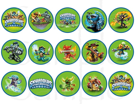 Skylanders Birthday Tags Cupcake Toppers Printable File