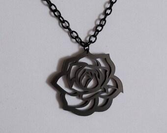 Gothic romantic black rose necklace.