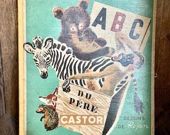 """Vintage copy of French children's book """"ABC"""" du Père Castor. Published in 1936. Stunning illustrations for a nursery or children's room."""