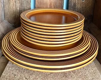 "6 Hornsea Contrast Dinner Plates White /& Brown Dia 25cm 10/"" Vintage 1970s"