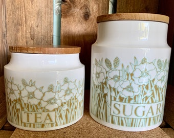 """Hornsea Pottery """"Fleur"""" design Tea and Sugar storage jars. SOLD SEPARATELY. In very good condition. Made in England in the 1970s."""