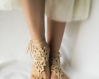 Beige Wedding Barefoot Sandles f09687791639