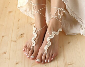 c40f02035 Beach wedding barefoot sandals Ivory footless sandles beaded barefoot  sandals foot jewelry Festival clothing anklet Bare foot sandals