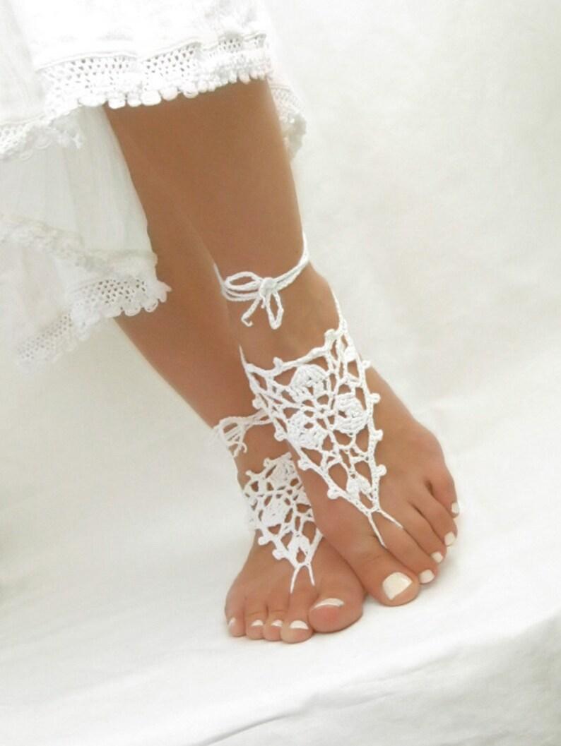 91463d02768e4 White barefoot sandals Crochet beach wedding sandles Bridal