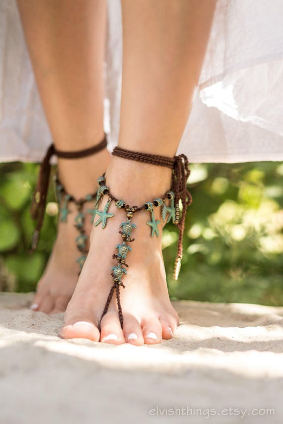 Brown sandal Mermaid Foot sandals foot wedding anklet Soleless jewelry jewelry bare Yoga Boho Barefoot Beach Bottomless barefoot sandals rqn8wxIrP