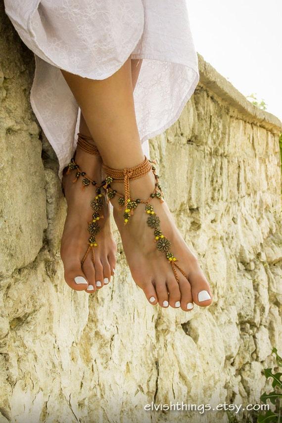 plage pieds footless Boh sandales Yoga sandales mariage de Gypsy Hippie bijoux Boho nus sandales sandales pied sans fond UxPEITZnq