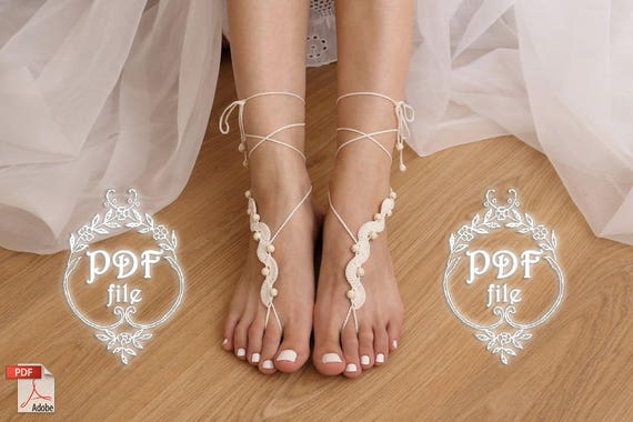 Barefoot Sandals Crochet Pattern Diy Tutorial Bare Foot Etsy