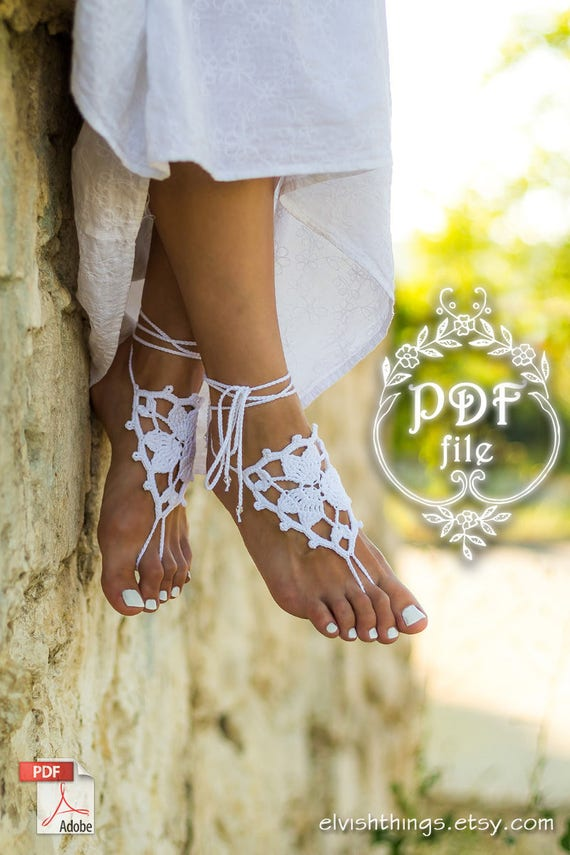 Anklet Gift Barefoot Foot Jewelry Wedding Tutorial Pattern Toe Thongs Pdf Crochet Footless Beach Diy Sandals Shoes 7mIYfgyb6v