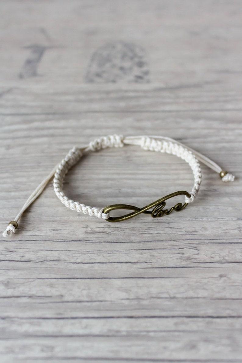 fc984b4145 Ivory macrame bracelet Friendship bracelet Infinity bracelet   Etsy