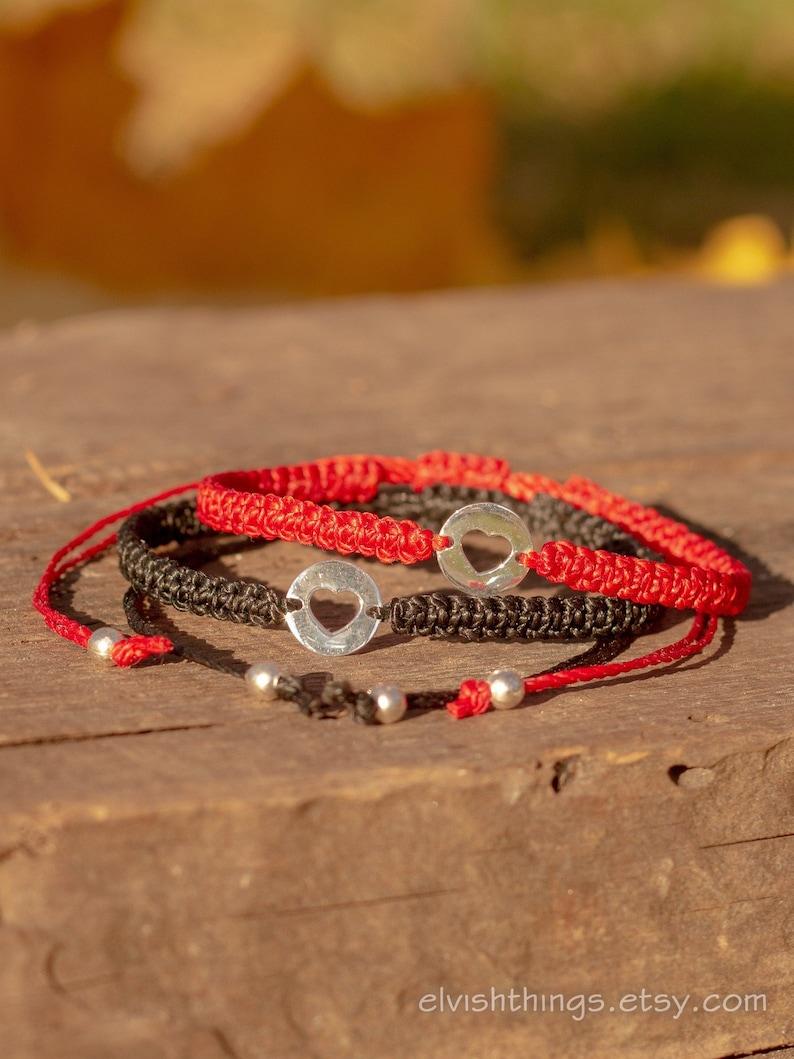 8a340ab3586fc Macrame bracelet Valentine's love Heart bracelets Matching couple bracelets  Long distance Red string bracelet Bracelet men His and hers