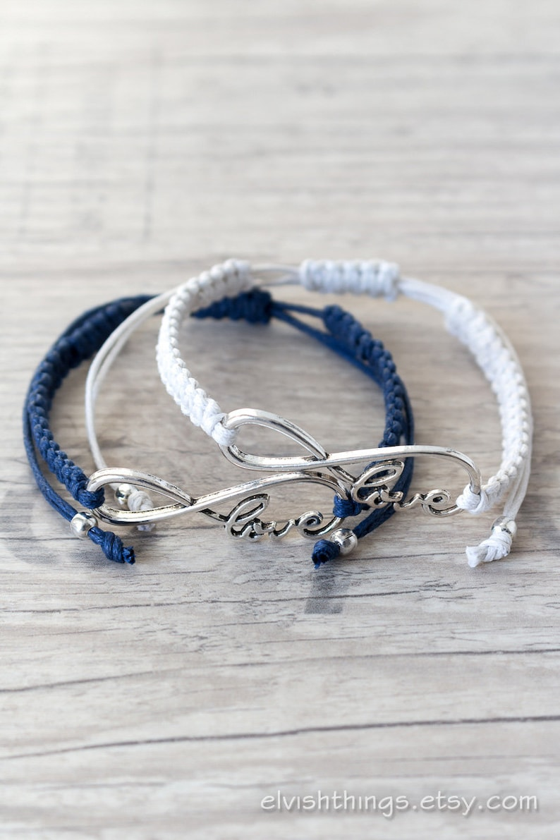 b763293145ff3 His and her bracelet Couples infinity bracelet Macrame bracelet Friendship  bracelet set - set of 2