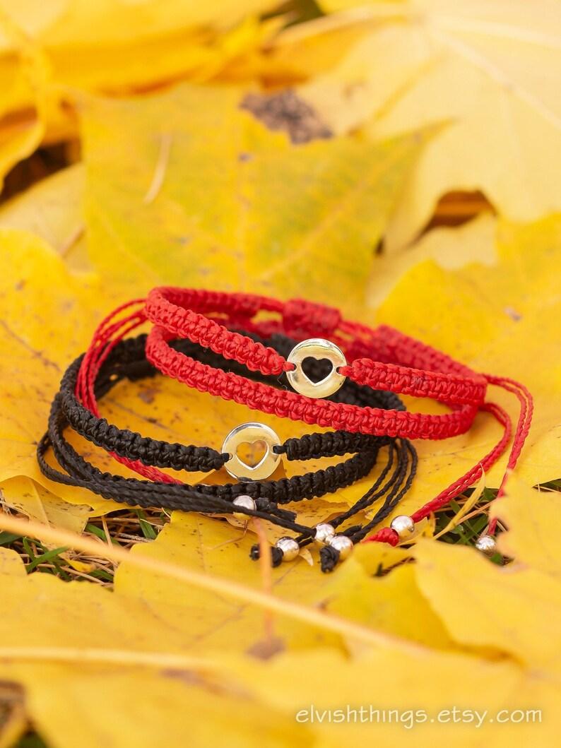 156b91afdcd78 Macrame bracelet Heart bracelets Matching couple bracelets Long distance  Red string bracelet Bracelet men His and hers - set of 4