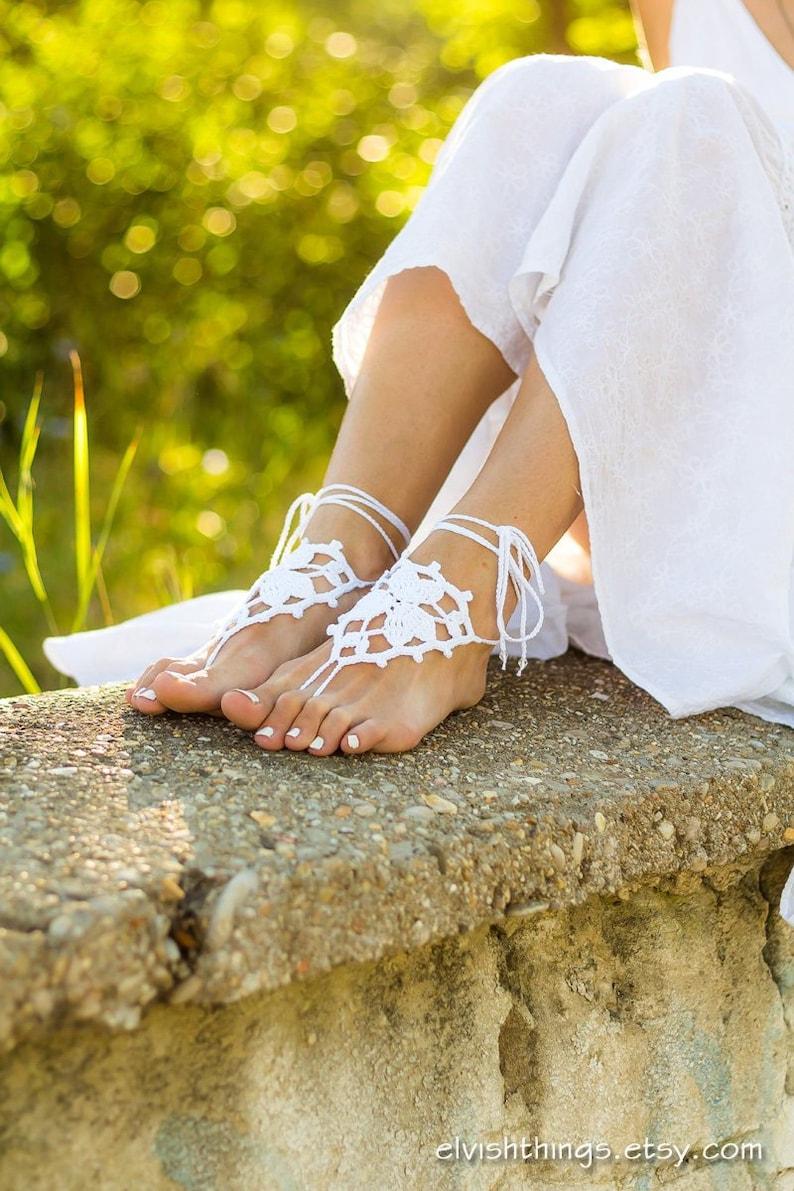 d7f2976b1 Beach wedding barefoot sandals Foot jewelry Soleless sandals