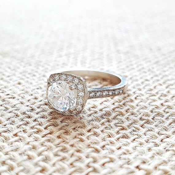 Cushion Shape Halo Diamond Engagement Ring 14k Gold White Etsy