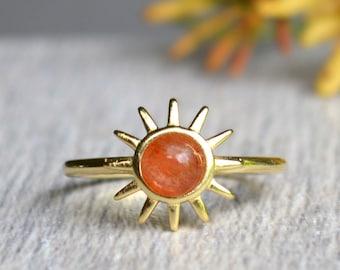 0def4d5ba Gold Sun Ring, Sunstone Ring, Celestial Sun Ring, Tiny Sun Ring, Sunflower  Ring, Stacking Ring, Sunrise Ring, Minimalist Jewelry, Sun ray