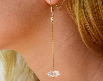 Herkimer Diamond Earrings, Simple Thin Earrings, Minimalist stone Earrings, Raw stone earrings, Raw crystal dangle Earring, April birthstone