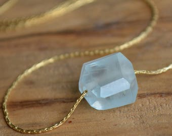 Raw Aquamarine Necklace, Simple Gemstone Necklace, Minimal Rough Stone Choker, March birthstone necklace, Dainty Crystal Choker