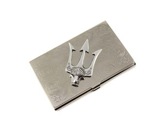Trident Card Case, Nautical Card Case, Metal card holder, Poseidon's Trident Case, Metal Card Case, Business card Case