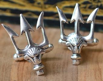 Poseidon's Trident Cufflinks, Superhero Cufflinks,  Super Hero Cuff Links,  Nautical Cufflinks, Navy Cufflinks,